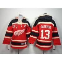 Red Wings #13 Pavel Datsyuk Red Sawyer Hooded Sweatshirt Stitched Youth NHL Jersey