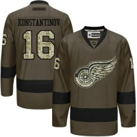 Red Wings #16 Vladimir Konstantinov Green Salute to Service Stitched NHL Jersey
