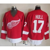 Red Wings #17 Brett Hull Red CCM Throwback Stitched NHL Jersey