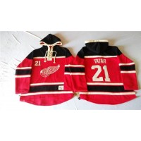 Red Wings #21 Tomas Tatar Red Sawyer Hooded Sweatshirt Stitched NHL Jersey