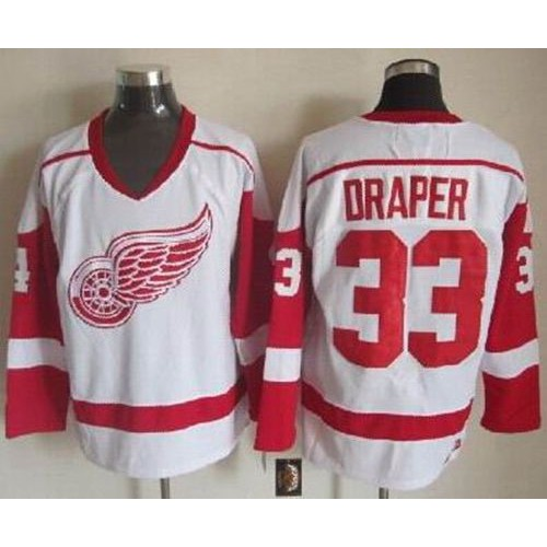 3c551f857 Red Wings  33 Kris Draper White CCM Throwback Stitched NHL Jersey