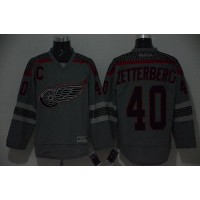 Red Wings #40 Henrik Zetterberg Charcoal Cross Check Fashion Stitched NHL Jersey
