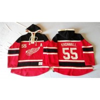Red Wings #55 Niklas Kronwall Red Sawyer Hooded Sweatshirt Stitched NHL Jersey