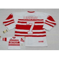 Red Wings #7 Ted Lindsay White CCM Throwback 75TH Stitched NHL Jersey