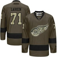 Red Wings #71 Dylan Larkin Green Salute to Service Stitched NHL Jersey