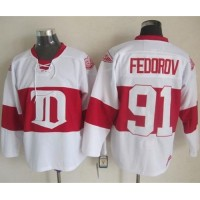 Red Wings #91 Sergei Fedorov White Winter Classic CCM Throwback Stitched NHL Jersey