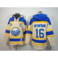 Sabres #16 Pat Lafontaine Cream Sawyer Hooded Sweatshirt Stitched NHL Jersey