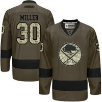 Sabres #30 Ryan Miller Green Salute to Service Stitched NHL Jersey