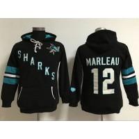 San Jose Sharks #12 Patrick Marleaui Black Women's Old Time Heidi Hoodie NHL Hoodie