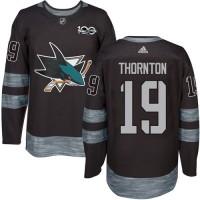 San Jose Sharks #19 Joe Thornton Black 1917-2017 100th Anniversary Stitched NHL Jersey