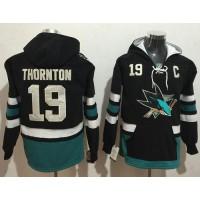 San Jose Sharks #19 Joe Thornton Black Name & Number Pullover NHL Hoodie