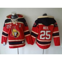 Senators #25 Chris Neil Red Sawyer Hooded Sweatshirt Stitched NHL Jersey