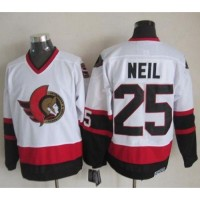Senators #25 Chris Neil White CCM Throwback Stitched NHL Jersey