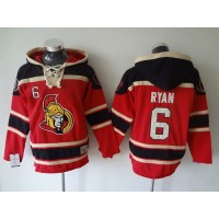 Senators #6 Bobby Ryan Red Sawyer Hooded Sweatshirt Stitched NHL Jersey