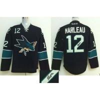 Sharks #12 Patrick Marleau Black Autographed Stitched NHL Jersey