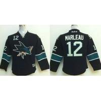 Sharks #12 Patrick Marleau Black Stitched Youth NHL Jersey