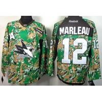 Sharks #12 Patrick Marleau Camo Veterans Day Practice Stitched NHL Jersey