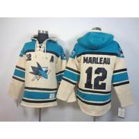 Sharks #12 Patrick Marleau Cream Sawyer Hooded Sweatshirt Stitched NHL Jersey