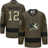 Sharks #12 Patrick Marleau Green Salute to Service Stitched NHL Jersey