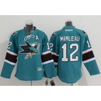 Sharks #12 Patrick Marleau Green Stitched Youth NHL Jersey