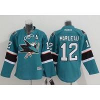 Sharks #12 Patrick Marleau Green Stitched Youth NHL Jersey