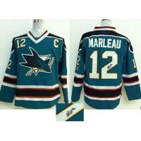Sharks #12 Patrick Marleau Teal Autographed Stitched NHL Jersey