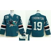 Sharks #19 Joe Thornton Teal Autographed Stitched NHL Jersey