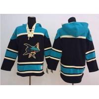 Sharks Blank Black Sawyer Hooded Sweatshirt Stitched NHL Jersey