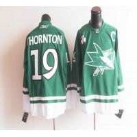 Sharks St Patty's Day #19 Joe Thornton Teal Stitched NHL Jersey