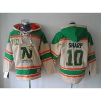 Stars #10 Patrick Sharp Cream Sawyer Hooded Sweatshirt Stitched NHL Jersey