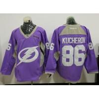 Tampa Bay Lightning #86 Nikita Kucherov Purple Fights Cancer Practice Stitched NHL Jersey