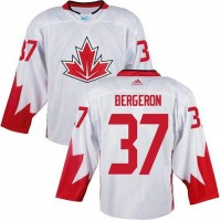 Team CA. #37 Patrice Bergeron White 2016 World Cup Stitched NHL Jersey
