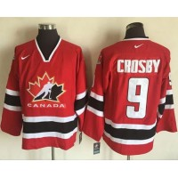 Team CA. #9 Sidney Crosby Red Black 2002 Olympic Nike Throwback Stitched NHL Jersey