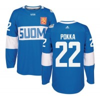 Team Finland #22 Ville Pokka Blue 2016 World Cup Stitched NHL Jersey