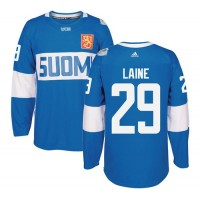 Team Finland #29 Patrik Laine Blue 2016 World Cup Stitched NHL Jersey