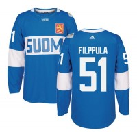 Team Finland #51 Valtteri Filppula Blue 2016 World Cup Stitched NHL Jersey