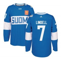 Team Finland #7 Esa Lindell Blue 2016 World Cup Stitched NHL Jersey
