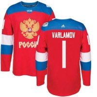 Team Russia #1 Semyon Varlamov Red 2016 World Cup Stitched NHL Jersey