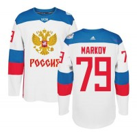 Team Russia #79 Andrei Markov White 2016 World Cup Stitched NHL Jersey