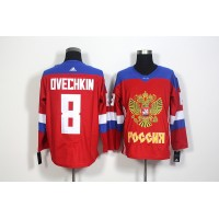 Team Russia #8 Alexander Ovechkin Red 2016 World Cup Stitched NHL Jersey