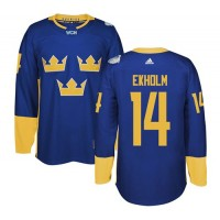 Team Sweden #14 Mattias Ekholm Blue 2016 World Cup Stitched NHL Jersey
