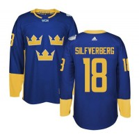 Team Sweden #18 Jakob Silfverberg Blue 2016 World Cup Stitched NHL Jersey