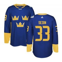 Team Sweden #33 Henrik Sedin Blue 2016 World Cup Stitched NHL Jersey