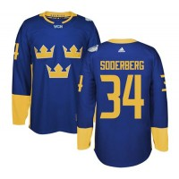 Team Sweden #34 Carl Soderberg Blue 2016 World Cup Stitched NHL Jersey