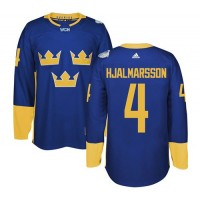 Team Sweden #4 Niklas Hjalmarsson Blue 2016 World Cup Stitched NHL Jersey