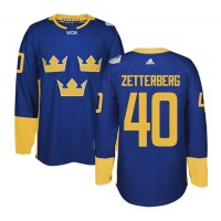 Team Sweden #40 Henrik Zetterberg Blue 2016 World Cup Stitched NHL Jersey