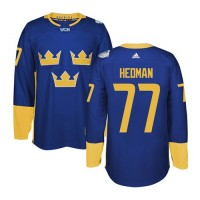 Team Sweden #77 Victor Hedman Blue 2016 World Cup Stitched NHL Jersey