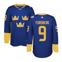 Team Sweden #9 Filip Forsberg Blue 2016 World Cup Stitched NHL Jersey