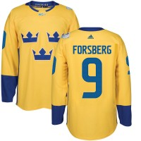 Team Sweden #9 Filip Forsberg Yellow 2016 World Cup Stitched NHL Jersey