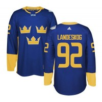 Team Sweden #92 Gabriel Landeskog Blue 2016 World Cup Stitched NHL Jersey